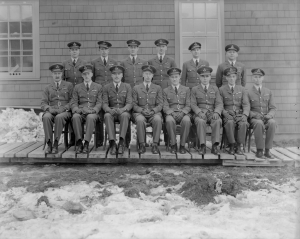Class photograph showing two rows of uniformed men. RAF No. 7 Specialist N Course, Port Albert, Ontario. 1940-45.