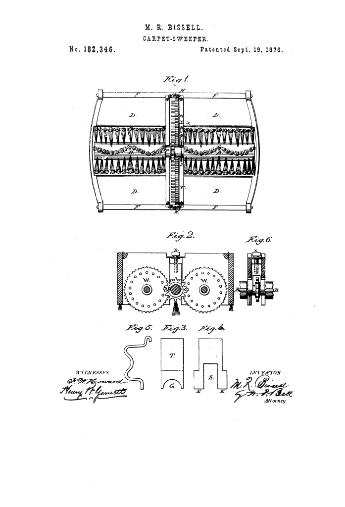 Image from patent US182346-0, illustrating inner workings of carpet sweeper mechanism