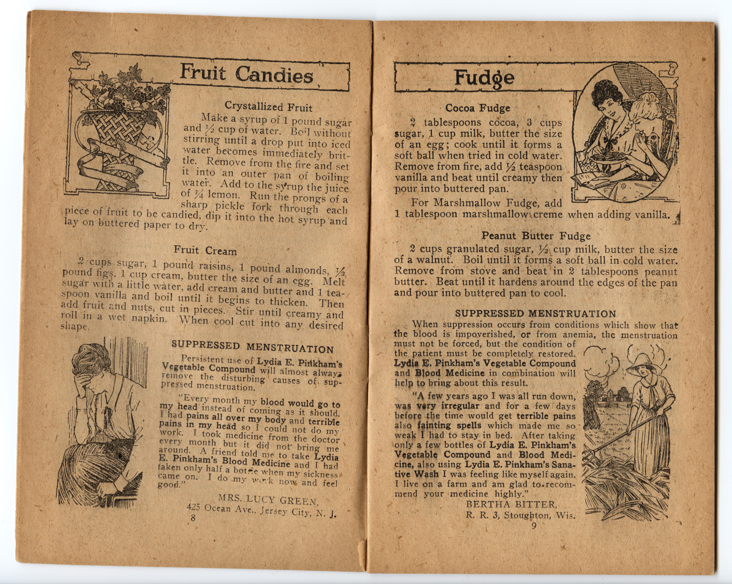 Pages 8 and 9 of 'Sweets' pamphlet, featuring recipes for Crystallized Fruit, Fruit Cream, Cocoa Fude, Peanut Butter Fudge and testimonials regarding the use of Lydia E. Pinkham's Vegetable Compound and Blood Pills for treating suppressed menstuation.