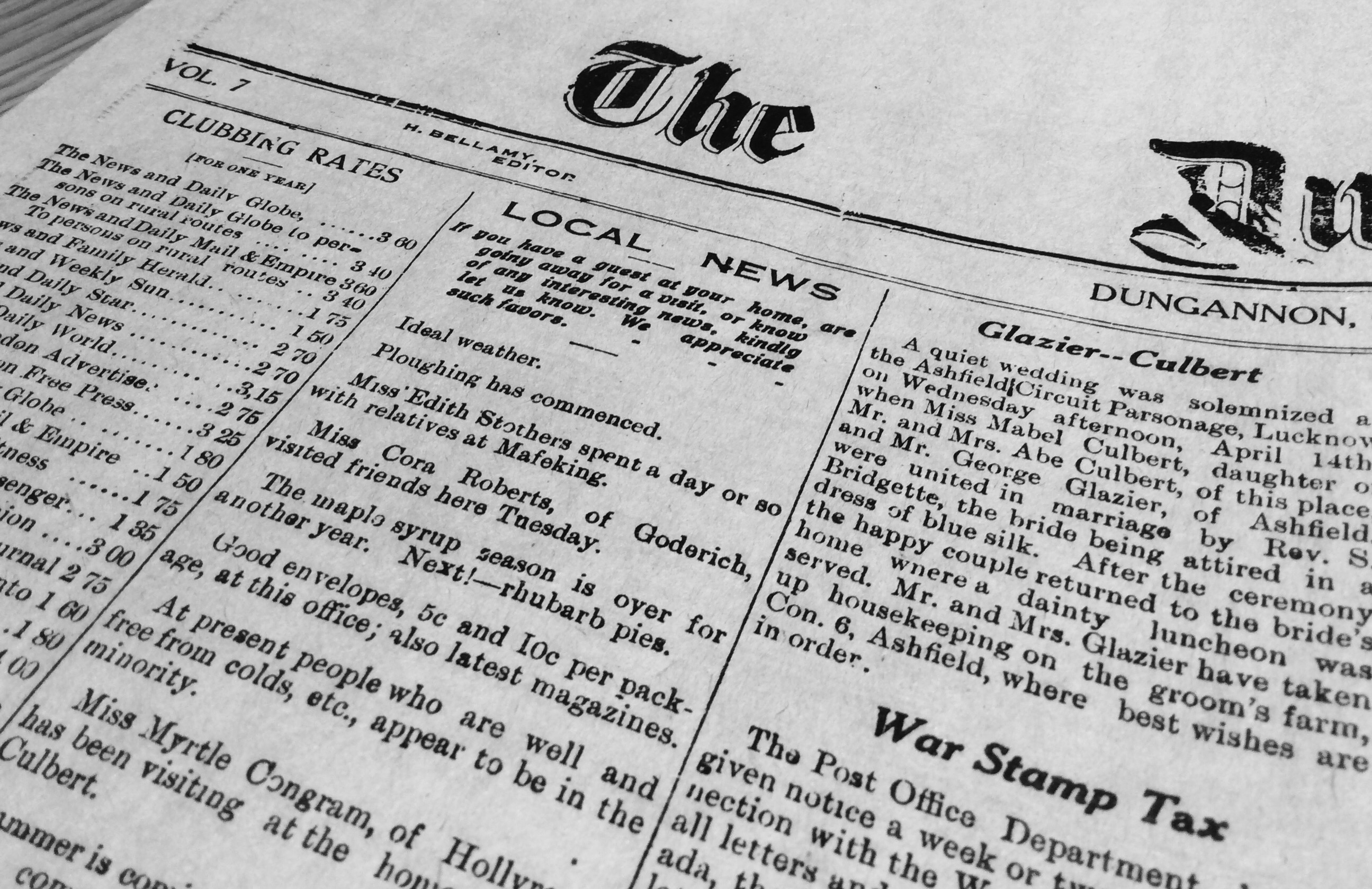 Newspaper Man Enlists:  Huron County and the First World War in Black & White