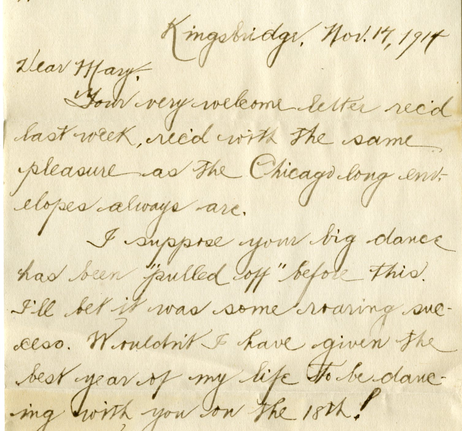 Excerpt from a letter sent to Mary Frances Griffin
