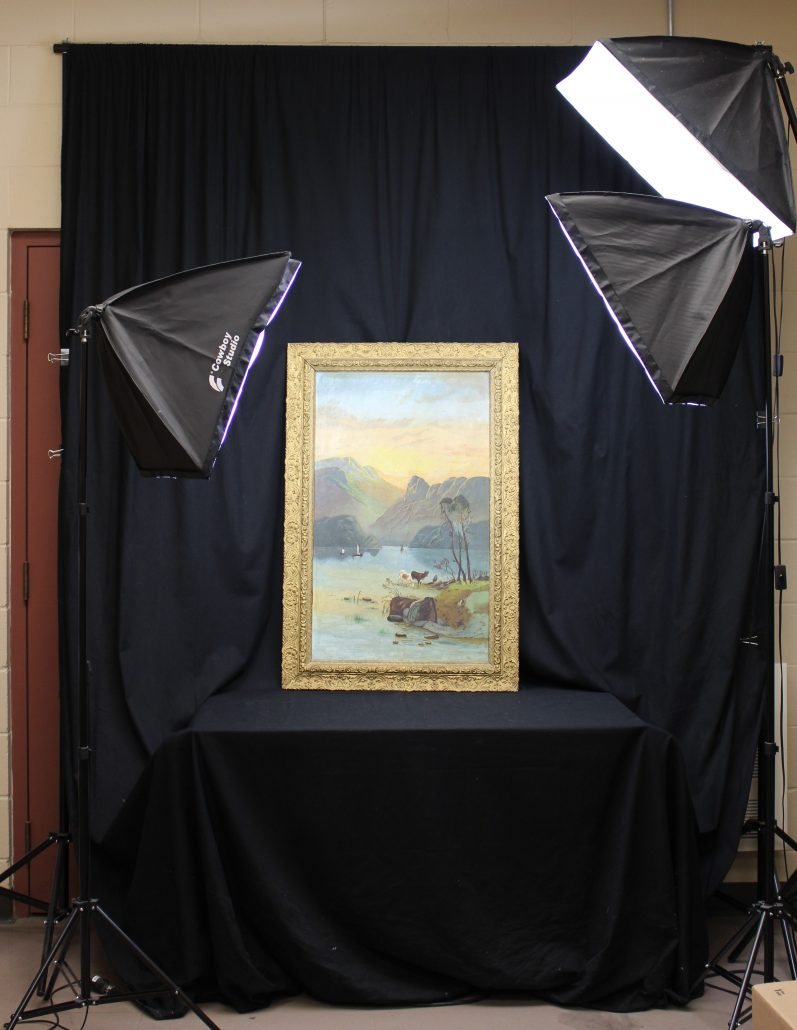Image showing an artifact being photographed as part of the cataloguing process.