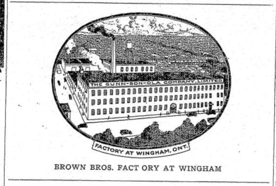 Illustration of Gunn-son-ola factory in Wingham