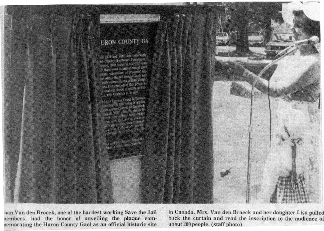 Newspaper clipping of plaque unveiling designating Huron Historic Gaol as a National Historic Site