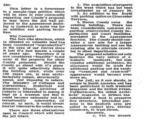Newspaper clipping of letter to the editor Save the Jail