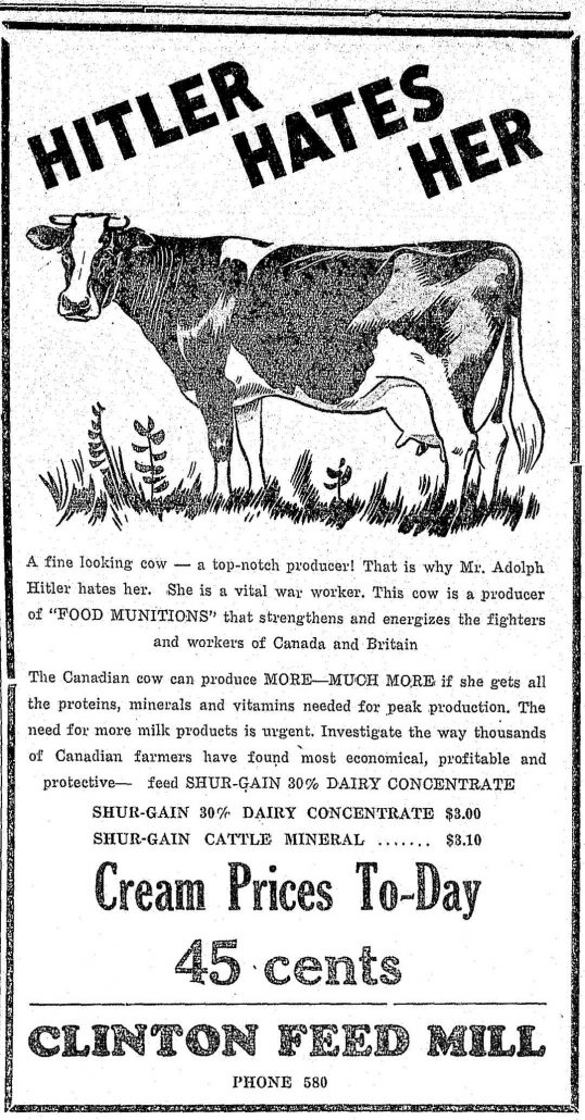 """Newspaper clipping. Clinton Feed Mill advertisement. Image of a cow with slogan """"Hitler hates her."""""""