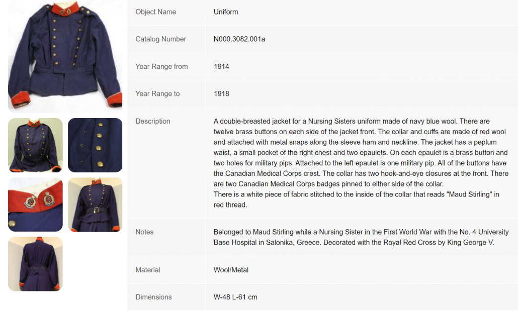 Detail from PastPerfect Online database. Image of uniform worn by Nursing Sister Maud Stirling.