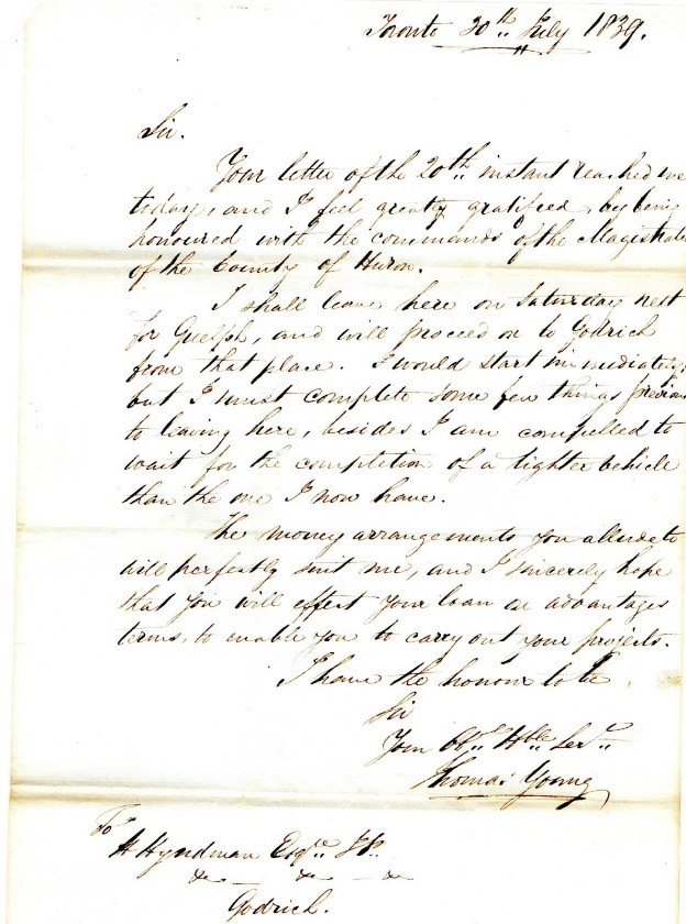 Letter from Toronto architect Thomas Young, 1839