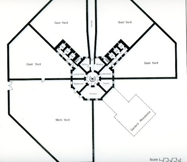 Architectural drawing of Huron Historic Gaol, showing panopticon design