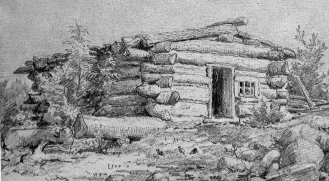 illustration of a log shanty