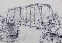 Ink print of the Auburn Bridge by artist Jim Marlatt
